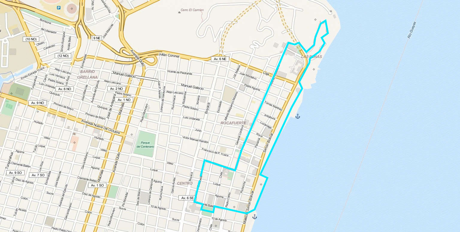 Map of Guayaquil inner city center.
