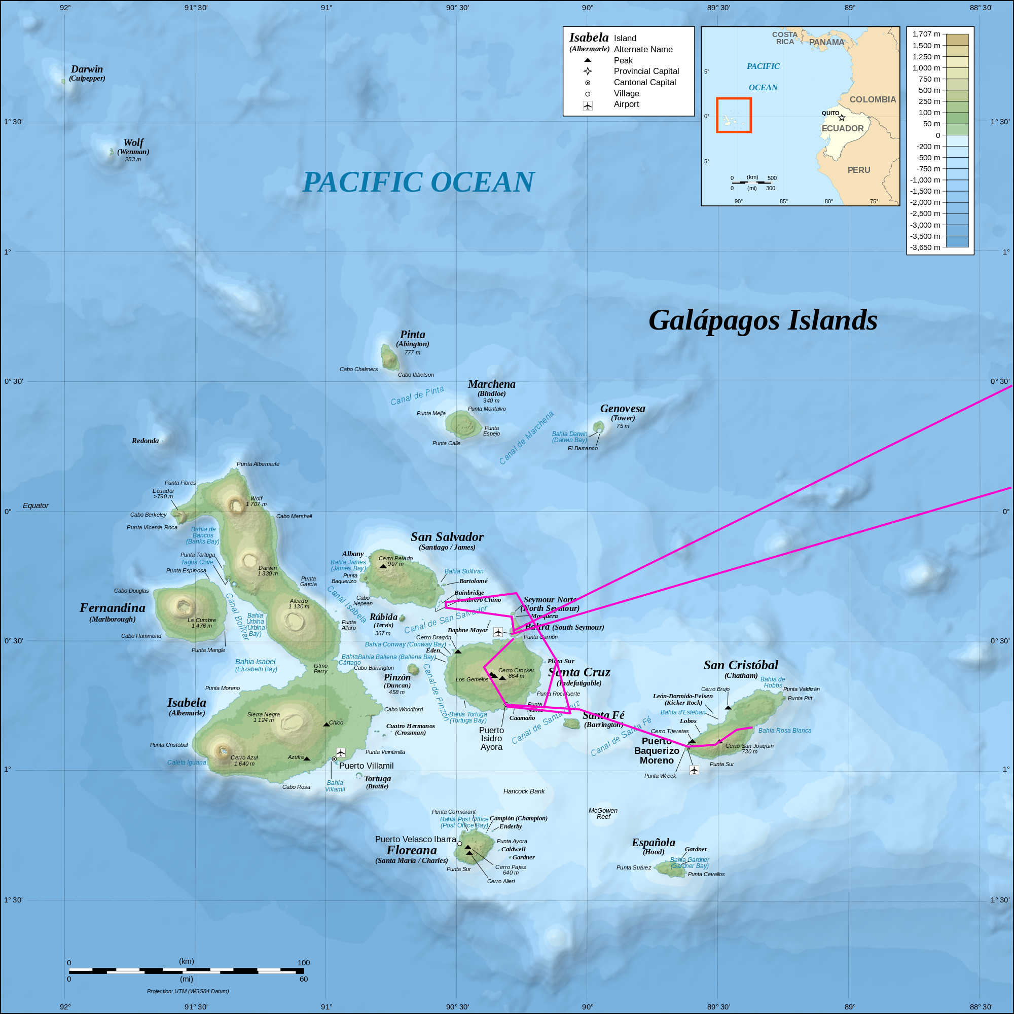 Map of the Galápagos Islands